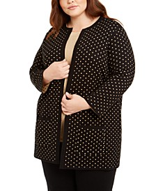Plus Size Metallic Polka-Dot Cardigan Sweater
