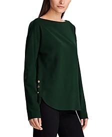Button-Trim Boatneck Shirt