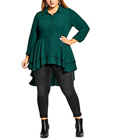 Trendy Plus Size Ruffled High-Low Tunic