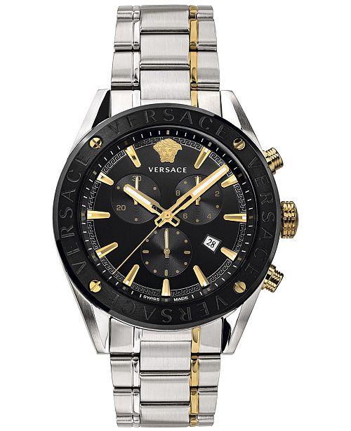 Versace Men's Swiss V-Chrono Two-Tone Stainless Steel Bracelet Watch 44mm
