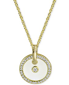 "Cubic Zirconia & White Enamel Circle 18"" Pendant Necklace in 18k Gold-Plated Sterling Silver"