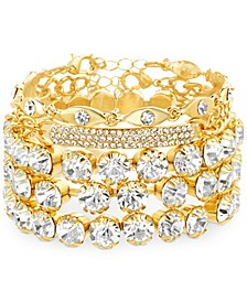 Yellow Gold-Tone Crystal & Curved Bar Cuff Bracelet