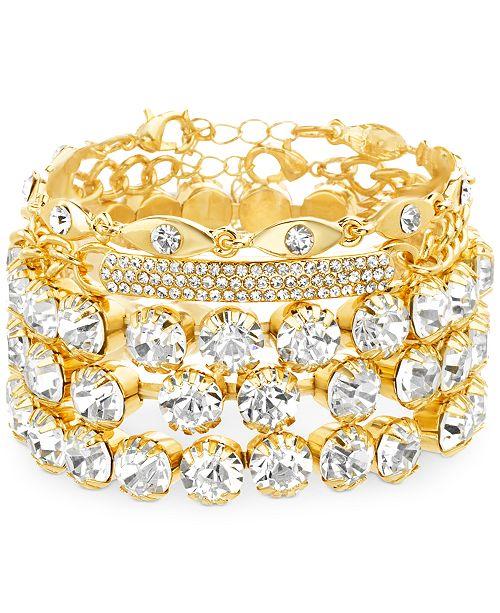 Steve Madden Yellow Gold-Tone Crystal & Curved Bar Cuff Bracelet