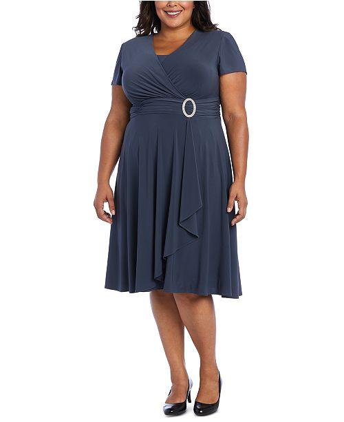 R & M Richards Plus Size Rhinestone-Belted Surplice Dress