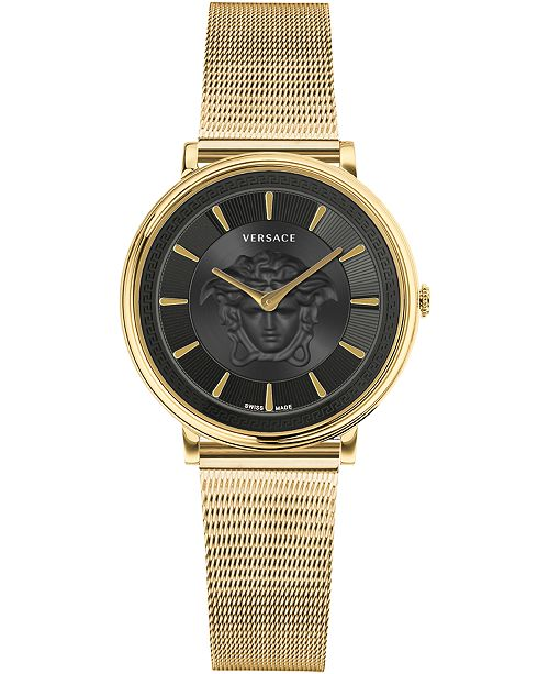 Versace Women's Swiss V-Circle Gold Ion-Plated Stainless Steel Mesh Bracelet Watch 38mm