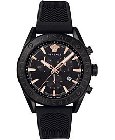 Men's Swiss V-Chrono Black Silicone Strap Watch 44mm