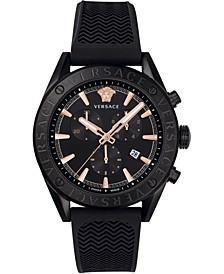 Men's Swiss V-Chrono Black Silicone Strap Watch 44mm