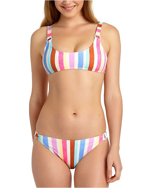 California Waves Striped Ring Hardware Bralette, Available in D/DD & Hipster Bottoms, Created For Macy's