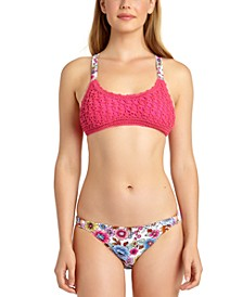 Juniors' Crochet Bralette Bikini Top & Hipster Bottoms, Created for Macy's