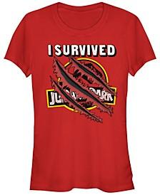 Jurassic Park Women's I Survived Claw Marks on Logo Short Sleeve Tee Shirt