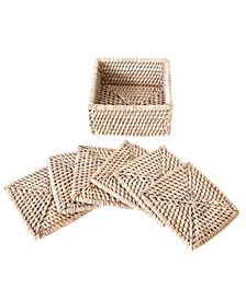 Rattan Square Coasters - 7 Piece Set