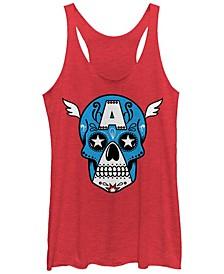 Marvel Women's Avengers Captain America Sugar Skull Tri-Blend Tank Top