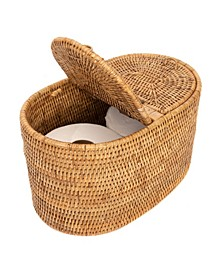 Rattan Oval Double Tissue Roll Box