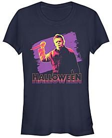 Halloween 2 Women's Michael Myers Retro Neon Portrait Short Sleeve Tee Shirt