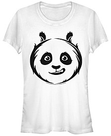 Kung Fu Panda Women's Po Face Outline Sketch Short Sleeve Tee Shirt