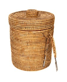Rattan Ice Bucket with Tongs