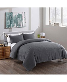 Washed Cotton Duvet Cover and Sham Set, Full/Queen