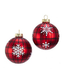80MM Red Plaid with Snowflakes Glass Ball Ornaments, 6 Piece Box