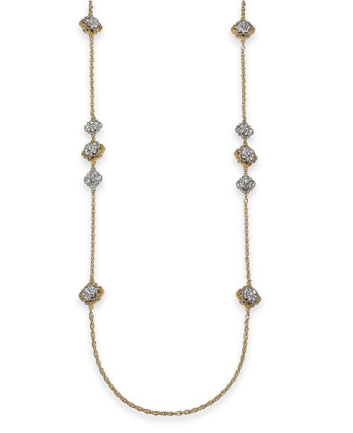 """Charter Club Two-Tone Crystal Palazzo Long Station Necklace, 42"""" + 2"""" extender, Created for Macy's"""