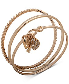 Gold-Tone 3-Pc. Set Pavé Heart Lock & Key Bangle Bracelets