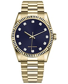 Men's Diamond-Accent Gold-Tone Bracelet Watch 48mm
