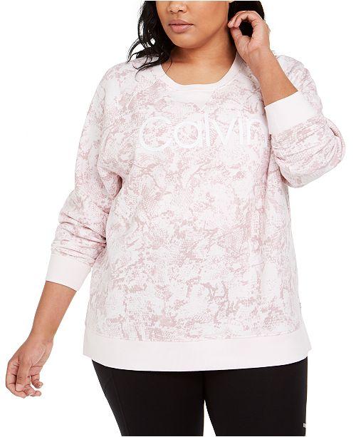 Calvin Klein Plus Size Active Snake-Print Logo Sweatshirt