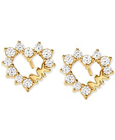 Love Pavé Crystal Open Heart Stud Earrings