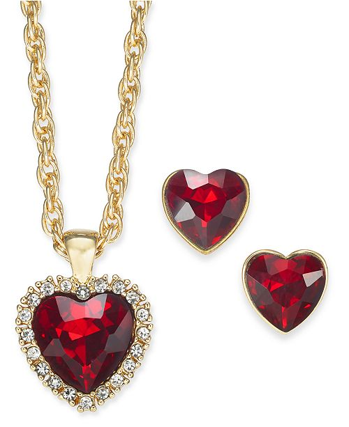"""Charter Club Gold-Tone Crystal Heart Pendant Necklace & Stud Earrings Boxed Set, 17"""" + 2"""", Created for Macy's"""