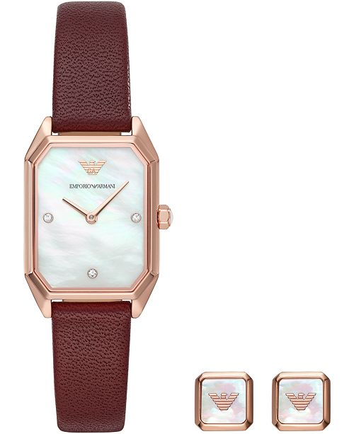 Emporio Armani Women's Burgundy Leather Strap Watch 24x35mm Gift Set