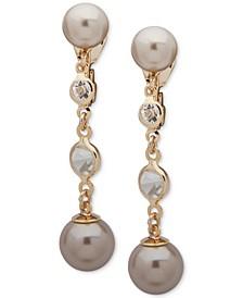 Crystal & Imitation Pearl Clip-On Linear Drop Earrings