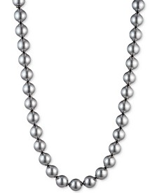 "Hematite-Tone Imitation Pearl 17"" Collar Necklace"