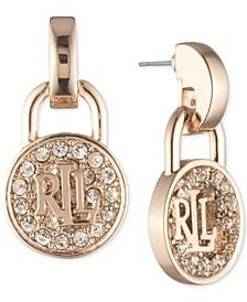 Rose Gold-Tone Crystal Logo Padlock Drop Earrings