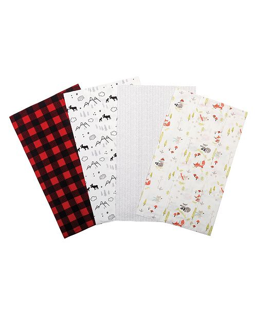 Trend Lab Buffalo Check Woodland Flannel Burp Cloth 4-Pack