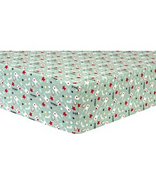 Reindeer & Gifts Flannel Crib Sheet