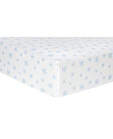Snowflake Print Flannel Crib Sheet