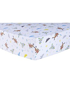 Gone Ice Fishing Flannel Crib Sheet