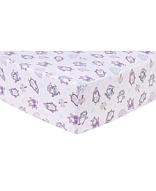 Happy Penguins Flannel Crib Sheet