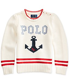 Toddler Girls Intarsia-Anchor Cotton Sweater