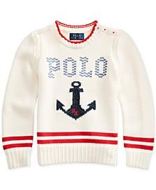 폴로 랄프로렌 여아용 스웨터 Polo Ralph Lauren Little Girls Intarsia-Anchor Cotton Sweater,Clubhouse Cream