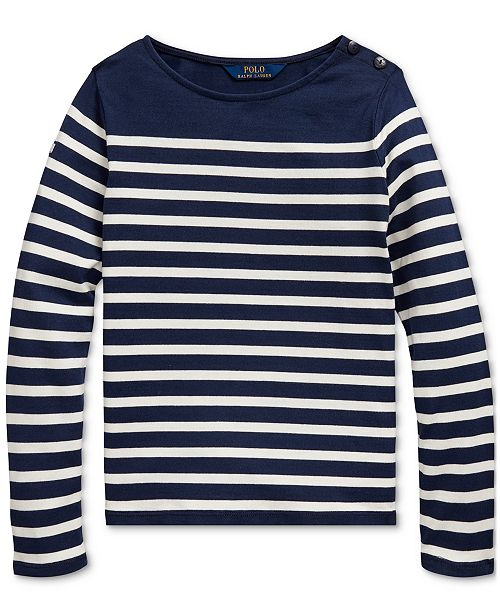 Polo Ralph Lauren Big Girls Striped Cotton Jersey Top