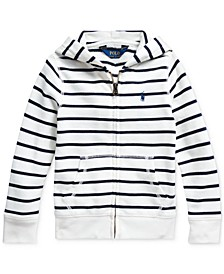 Little Girls Striped Cotton-Blend-Terry Hoodie