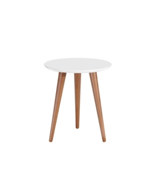 """Manhattan Comfort Moore 17.32"""" Round End Table In White"""