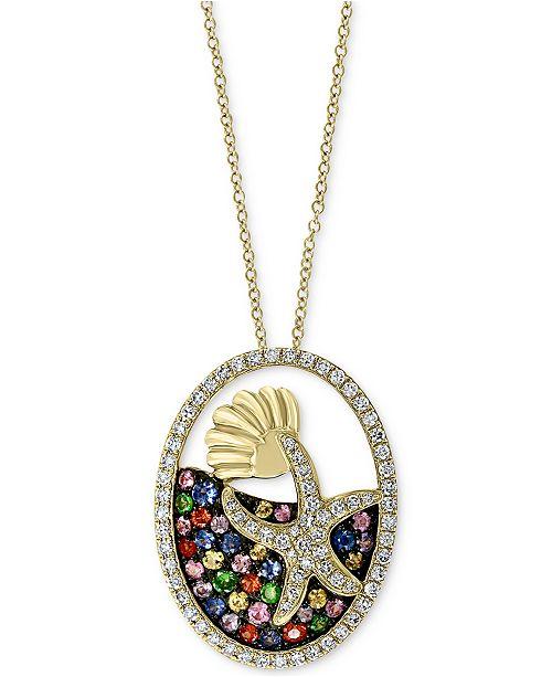 "EFFY Collection EFFY® Multi-Gemstone (1/2 ct. t.w.) & Diamond (1/3 ct. t.w.) Starfish 18"" Pendant Necklace in 14k Gold"