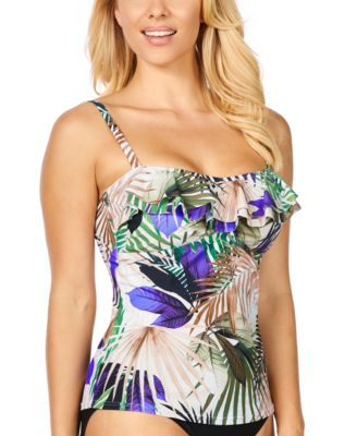 Palm Springs Tahiti Printed Ruffled Tankini, Created For Macy's