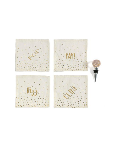 """Shiraleah """"Pop Fizz Clink /yay"""" Cocktail Napkins and Bottle Stopper Gift Set"""
