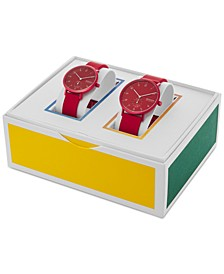Unisex Aaren Kulor Red Silicone Strap Watches 41mm & 36mm Gift Set