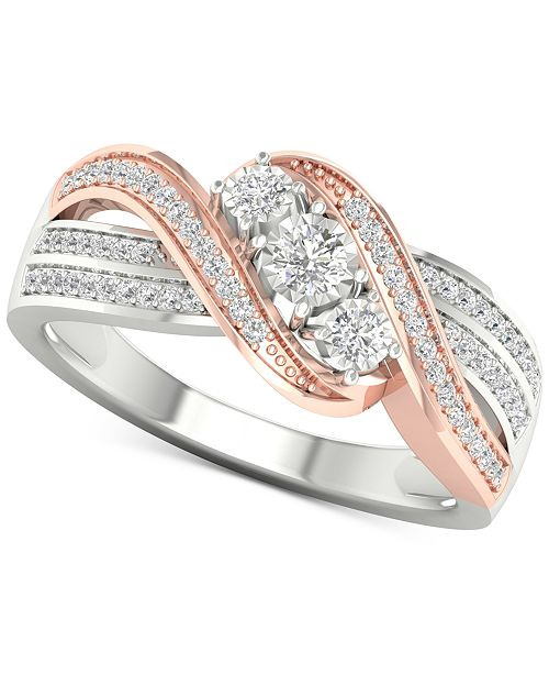 Macy's Diamond Three-Stone Crossover Statement Ring (1/4 ct. t.w.) in Sterling Silver & 10k Rose Gold-Plate