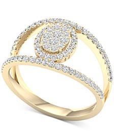 Diamond Oval Cluster Openwork Statement Ring (1/2 ct. t.w.) in 10k Gold