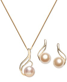 2-Pc. Set Cultured Freshwater Pearl 7mm) Swirl Pendant Necklace & Matching Stud Earrings Set in 18k Gold-Plated Sterling Silver