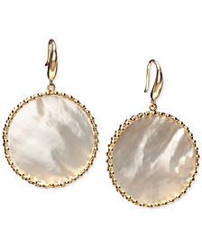 Mother-of-Pearl Framed Disc Drop Earrings in 18k Gold-Plated Sterling Silver